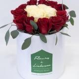 Fleurs à Lisbonne - Caixa Alta de Rosas Vermelhas e Brancas 2 Thumb