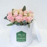 Fleurs à Lisbonne - Caixa Alta de Rosas Cor de Rosa e Eucalipto 1 Thumb