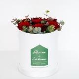 Fleurs à Lisbonne - Caixa Alta de Rosas Vermelhas e Eucalipto 1 Thumb