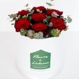 Fleurs à Lisbonne - Caixa Alta de Rosas Vermelhas e Eucalipto 2 Thumb