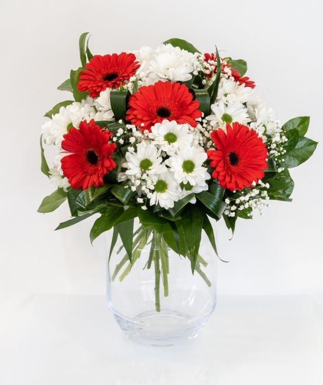 Fleurs à Lisbonne - Ramo de Gerberas Vermelhas e Margaridas Brancas 2