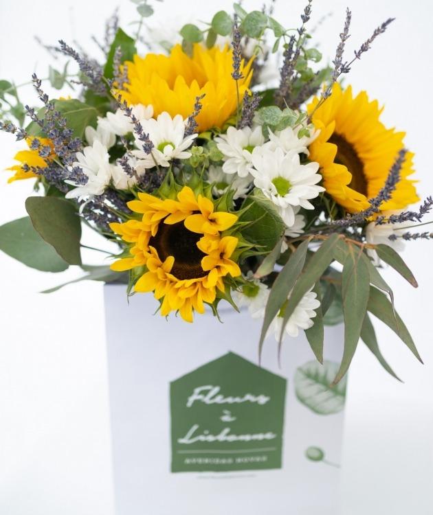 Fleurs à Lisbonne - Ramos de Girassóis, Lavanda e Margaridas Brancas 3