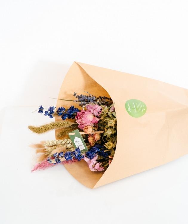 Fleurs à Lisbonne - Ramo de Flores Secas Cor de Rosa e Azul 1