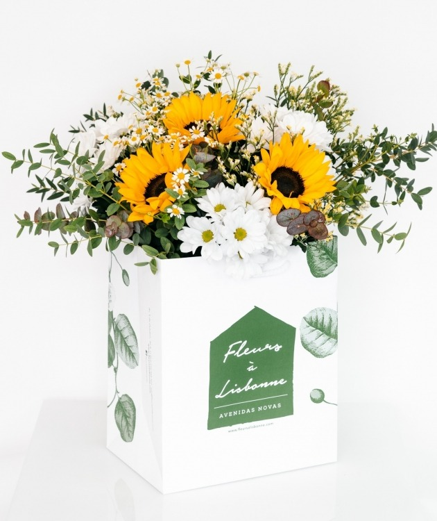 Fleurs à Lisbonne - Ramo de Girassóis e Margaridas Brancas 1