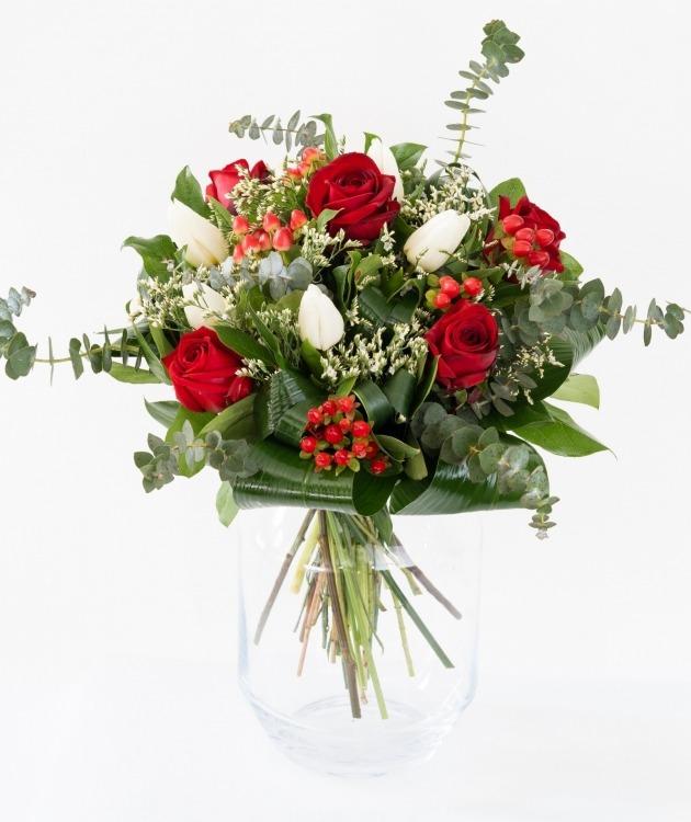 Fleurs à Lisbonne - Ramo de Rosas Vermelhas e Tulipas Brancas 2