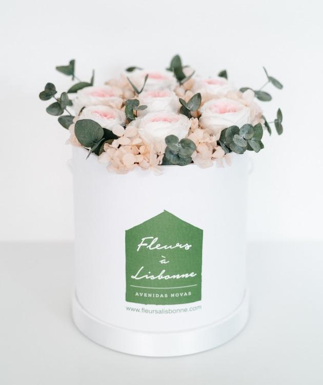 Fleurs à Lisbonne - Caixa de Rosas Preservadas Cor de Rosa 1