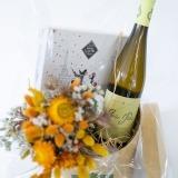 Fleurs à Lisbonne - Caixa com Ramo de Secos, Chocolates e Vinho Branco 3 Thumb
