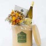 Fleurs à Lisbonne - Caixa com Ramo de Secos, Chocolates e Vinho Branco 1 Thumb